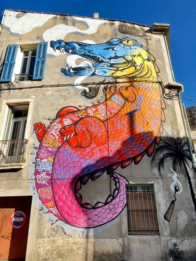 Street Art Nîmes crocodile blason